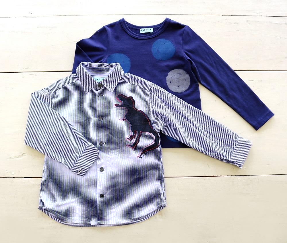 0215029660kids_ダイナソーpt.先染めシャツ&ドットpt.Tシャツ_2