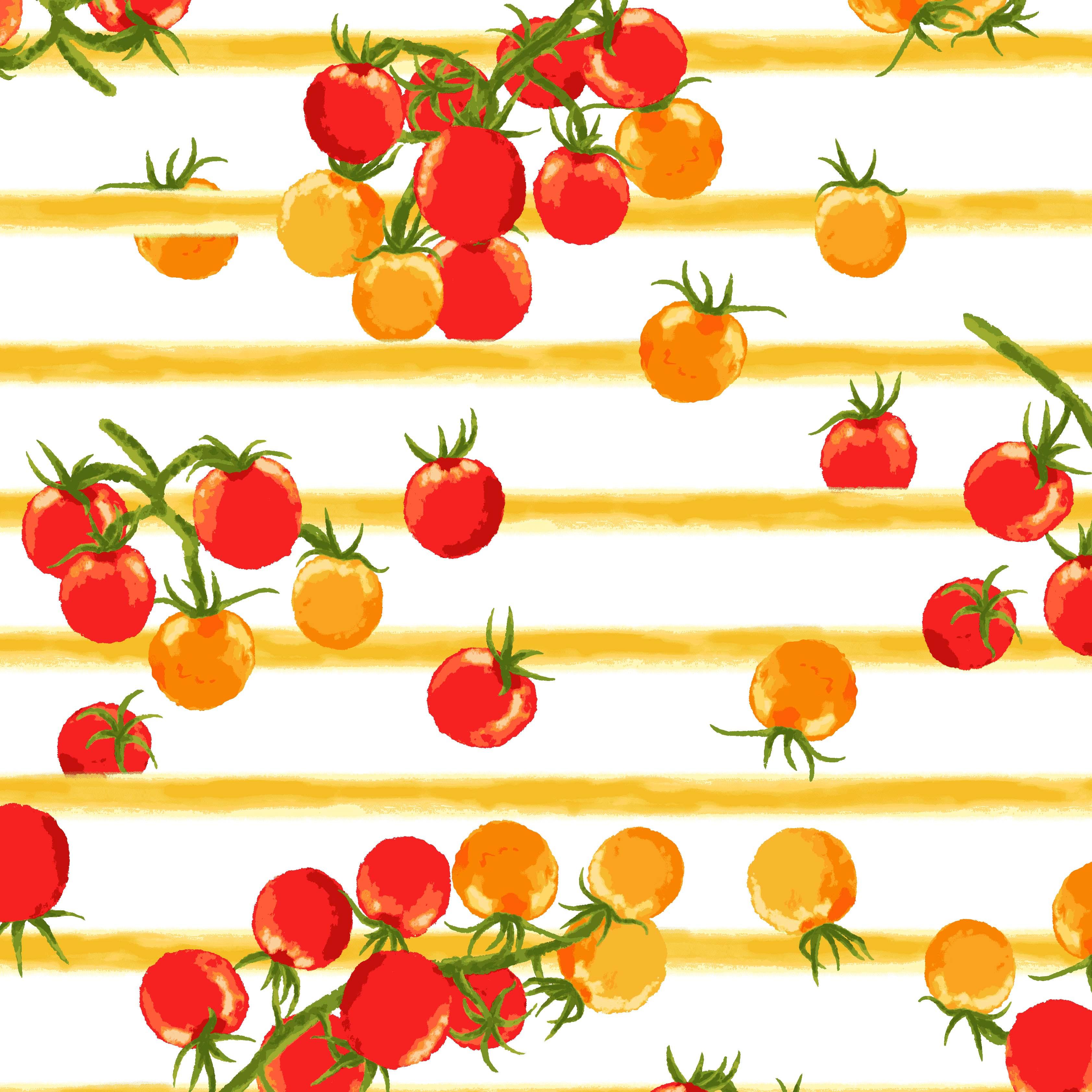 ボーダープチトマトプリントイエロー