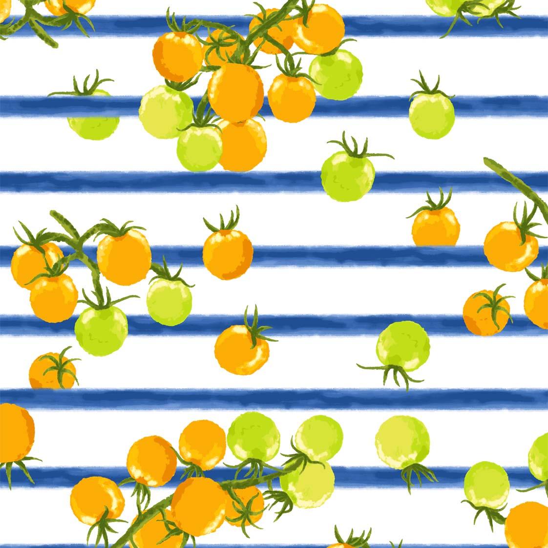 ボーダープチトマトプリントブルー